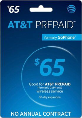 AT&T GO PHONE $65 Refill! Credit applied DIRECTLY to PHONE