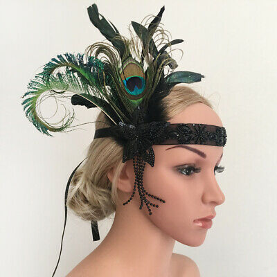 Le donne Lady Vintage Beads 1920 Peacock Feather Fasce Fascinator Wedding