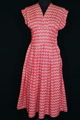Rare French Vintage 1940'S-50'S Provence Region  Cotton Red & White Dress Size 6