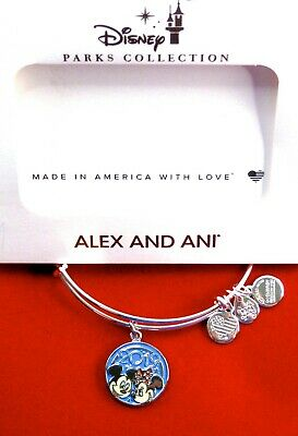 Alex & Ani Disney Park Bracelet ✿ Classic Mickey Mouse Minnie in LOVE '19 Silver