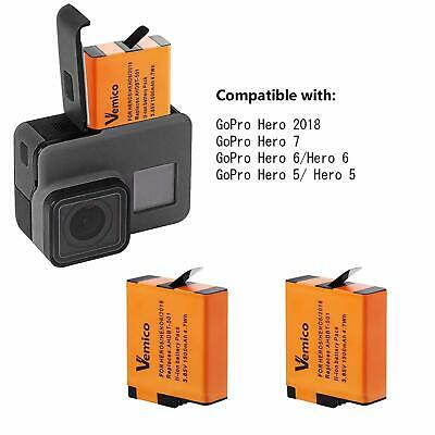 Vemico Replacement for Gopro Battery Charger Hero 7/6/5 Black Hero 2018 3 Piece