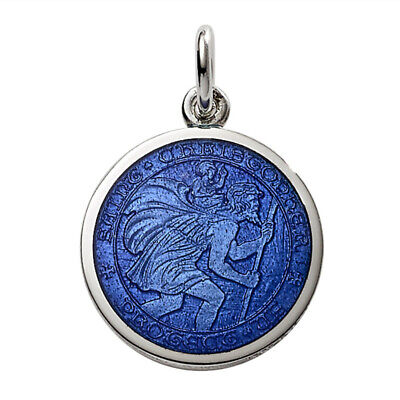 Sterling Silver ROYAL BLUE Enameled glass St. Christopher PENDANT CHARM -NWT