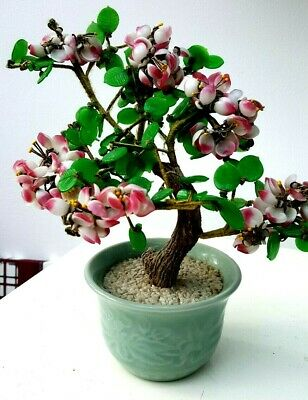 """VINTAGE ASIAN AGATE GLASS BONSAI TREE WITH JADE COLOURED LEAVES 10"""" tall/ 9""""wide"""