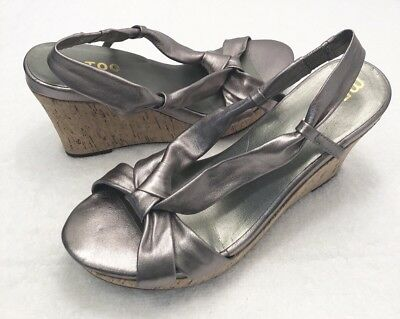 b505cec0c4 Womens Size 9.5 ME TOO Pewter Leather Slingback Open Toe Wedge Heel Sandals