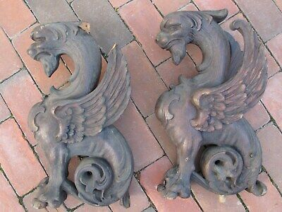 Pair Antique 19Th Century Wood Carved Gargoyle Gothic Finials 18""