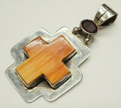 Banded Carnelian Orange Agate Cross Pendant Sterling Silver With Red Gemstone