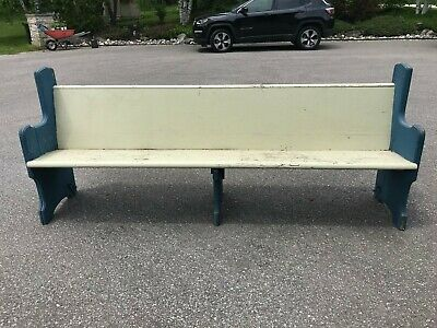 almost 8 foot blue and white antique church pew