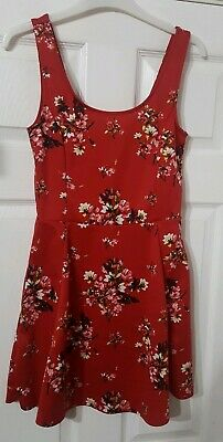 564cbaaa4a170 Euc Women's Red H&M Divided Floral Flower Mini Skater Dress Small 12 Fit 10  ⚘