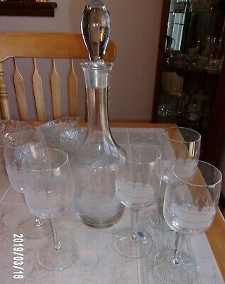 Vintage Etched Crystal Wine Carafe Decanter 5 Glasses Stem Clipper Ship Estate