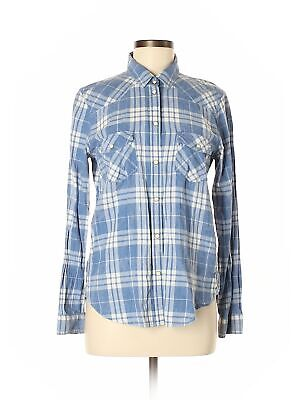 4999fb25 American Eagle Outfitters Women Blue Long Sleeve Button Down Shirt Med