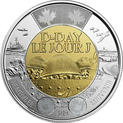 Brilliant Uncirculated 2019 Canada 75th D-Day 2 Dollars From Mint's Roll