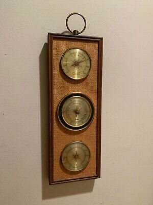Vintage Mid Century Tru-Temp Wall Barometer Humidity Thermometer Weather Station