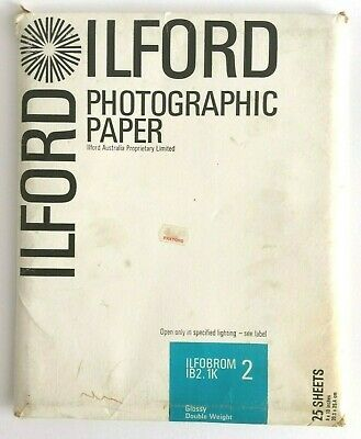 Vintage Ilford Photographic Paper Glossy Double Weight Ilfobrom 1B2.Ik 25 Sheets