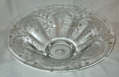 Antique Hand Blown Optic Cut Glass Bowl Floral Swag Motif