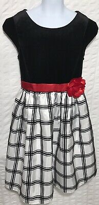 2b1818f29475 George Girls Christmas Holiday Winter Dress Red White Black Size 10