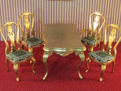 *Vtg / Antique  Dining Room Table, 4 Chairs Dollhouse Miniature Furniture 1:12