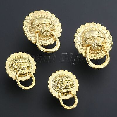 2/10/20Pcs Gold Color Small Lion Head Knob Pull Vintage Jewelry Chests Box Knobs