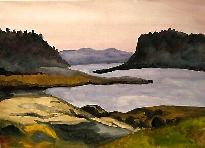 Vintage Impressionist Modernist Landscape With Water Study Watercolor Painting