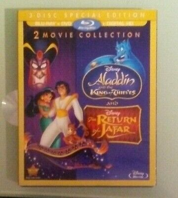 disney ALADDIN AND THE KING OF THIEVES  / THE RETURN OF JAFAR BLU RAY / DVD