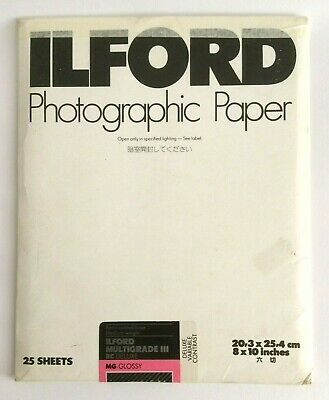 Vintage Ilford Photographic Paper Multigrade Iii Rc Deluxe Mg- Glossy 25 Sheets