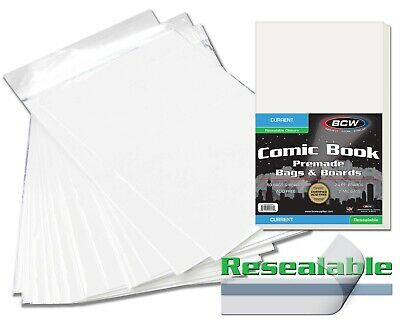 500 BCW Premade Resealable Current Comic Book Bags & Boards With Short Comic Box