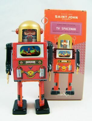 Robot - Robot Marcheur Mécanique en Tôle - TV Spaceman (St.John Tin Toy)