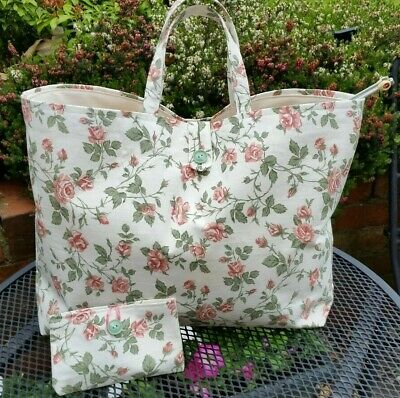 Knitting Bag, Vintage Floral, Lined, Shabby Chic, Handmade, FREE accessories