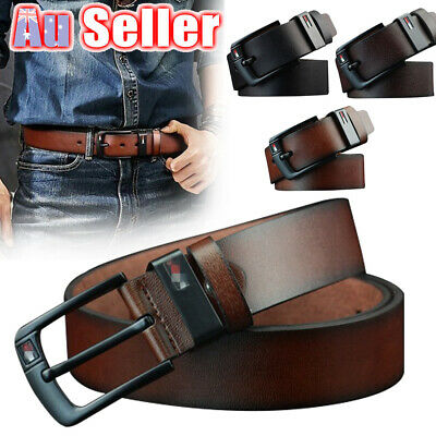 Mens Belt Dress AU Buckle Belts Pin Business Waistband PU Leather 3 Colors Work