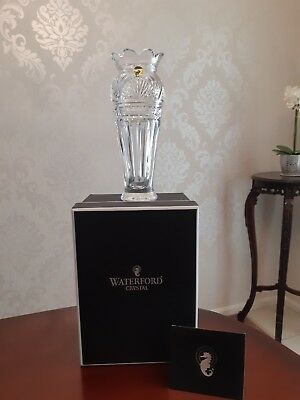 Rare Signed Fine Waterford Clear Cut Crystal Vase, Mint in Box with COA