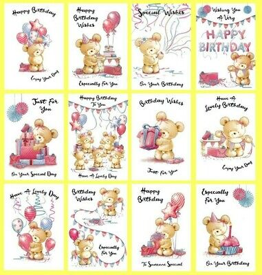 PACK OF 12 Open Female Birthday Cards Multi Pack Mixed Cute Teddy Bears Assorted