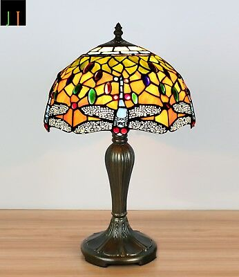 EOFY Sale Tiffany Dragonfly Stained Glass Art Deco Bedside Lamp Leadlight
