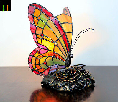 EOFY Sale Tiffany Red Butterfly Art Deco Stained Glass Table Lamp Leadlight