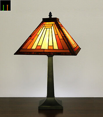EOFY Sale Tiffany Red Geometric Stained Glass Art Deco Bedside Table Lamp