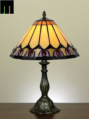 EOFY Sale Tiffany Red Diamond Stained Glass Art Deco Table Lamps Leadlight