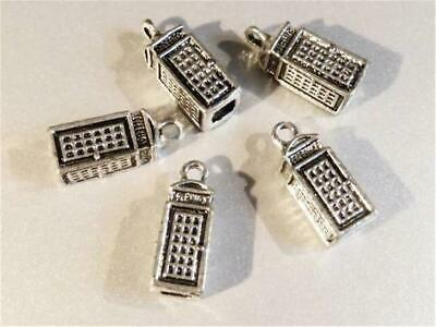 C394...Pack of 5 Antiqued Silver Plated Charms - UK Telephone Box