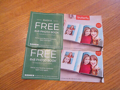 Lot of 2  Shutterfly 8 x 8 Photo Book Coupons  Codes Start KHBQ  EXPIRES 7/31/19