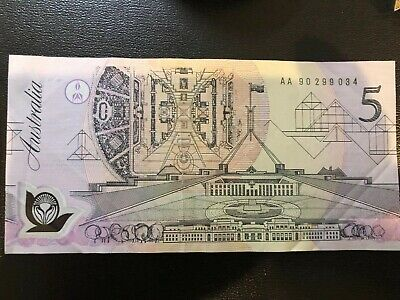 """Collectable -1992 - $5 Dollar """"1st Poly Note"""" - Fraser/Cole - AA Prefix"""