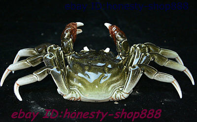 "9"" China Folk Colour Porcelain Hand-Carving Animal Crab Wealth Auspicious Statue"