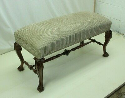Solid Oak 19th Century Carved English Chippendale Window Bench