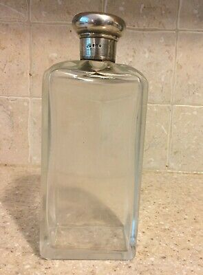 Large 1904 Mappin & Webb London,sterling silver topped glass bottle