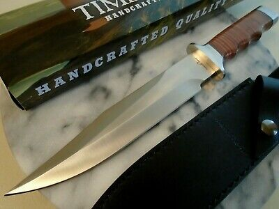 Timber Wolf Vietnam Style Combat Fighter Bowie Hunter Knife Stack Leather TW905
