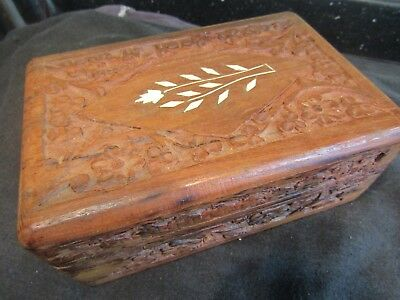 Vintage Wooden Box Hand Carved in India Ornate Carving & floral Inlay to lid VGC