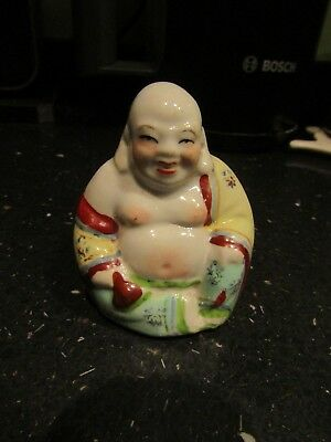 "Vintage Hand-Painted Porcelain Chinese Laughing Sitting Buddha/Budai 2.5"" Tall"
