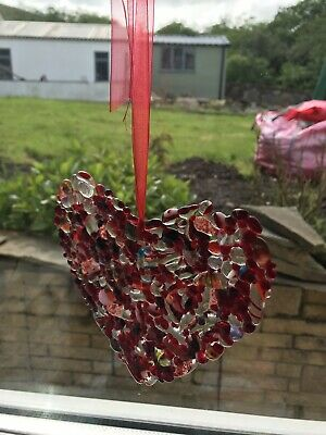 Heart sun catcher, handmade in fused glass hang anywhere.
