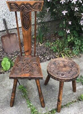 hand carved knot work spinning chair by ben setter and a milk stool. oak.