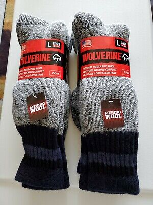 Wolverine 4 pairs Thermal Merino Wool Socks Mens Large NEW W/ Tags Made in USA