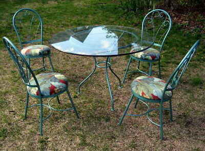 Mid Century Wrought Iron Patio Table & 4 Hip Chairs