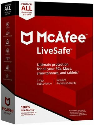 McAfee Livesafe Unlimited Devices for One Year (25 Digit Key Code)