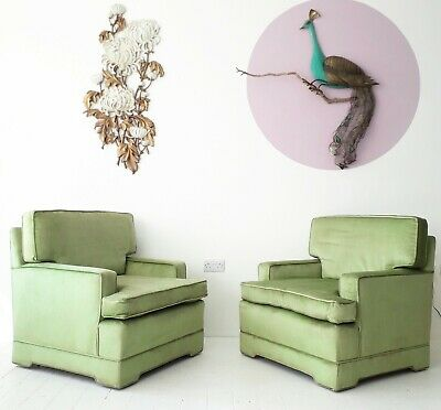 Hollywood Regency Armchairs In Celadon Green Velvet TWO AVAILABLE vintage chairs