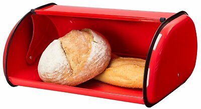 Red Bread Box Metal Bin Kitchen Container Cake Keeper Food Storage Roll Top Lid